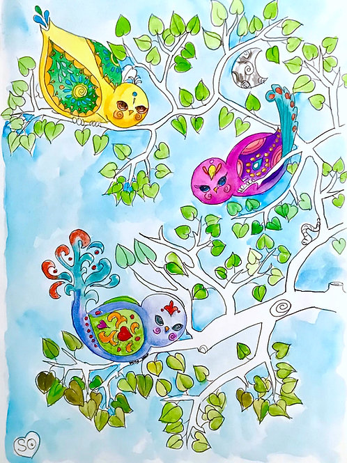 Birdys in a Tree Abstract Print