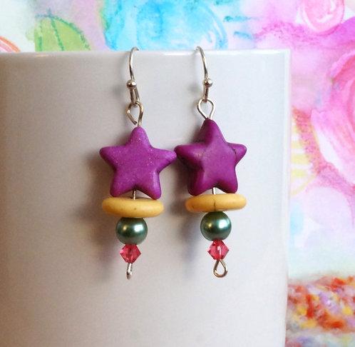 Plum Star Drop Earrings - Howlite, Glass, and Swarovski®Crystal