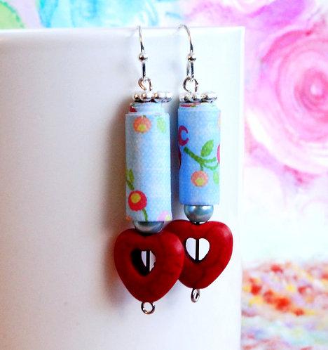Blue Paper Bead & Red Heart Earrings