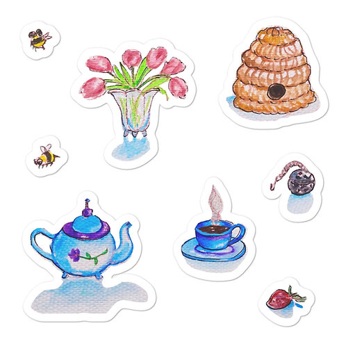 Tea Time 2 Bubble-free stickers