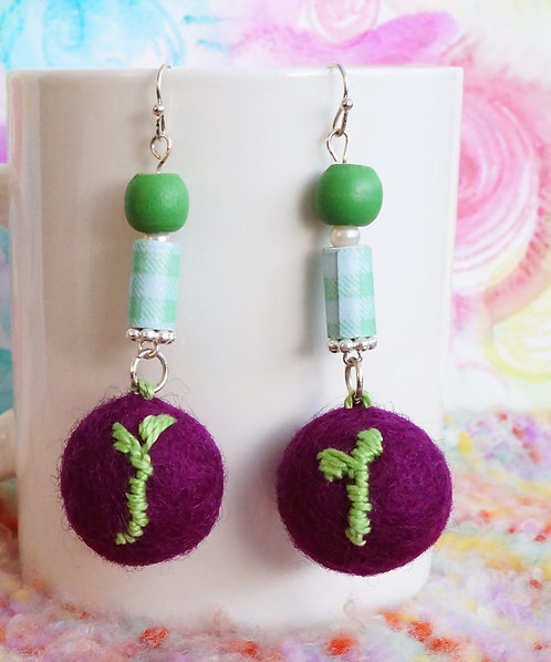 Embroidered Sprout on Plum Purple Felt Ball Drop Earring