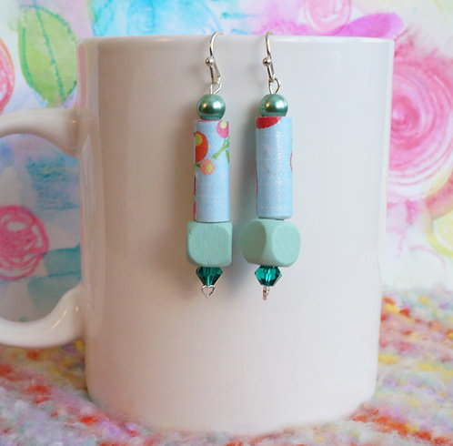 Handmade Drop Earrings - Wood, Glass, Handmade Paper, and Swarovski®Crystal