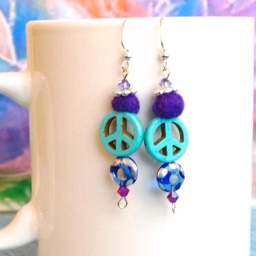 Purple & Teal Peace Earrings