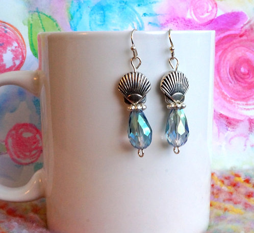 Blue Crystal  and Silver-tone Shell Drop Earrings