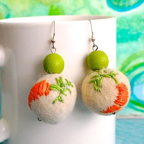 Carrot Felt Ball Earrings