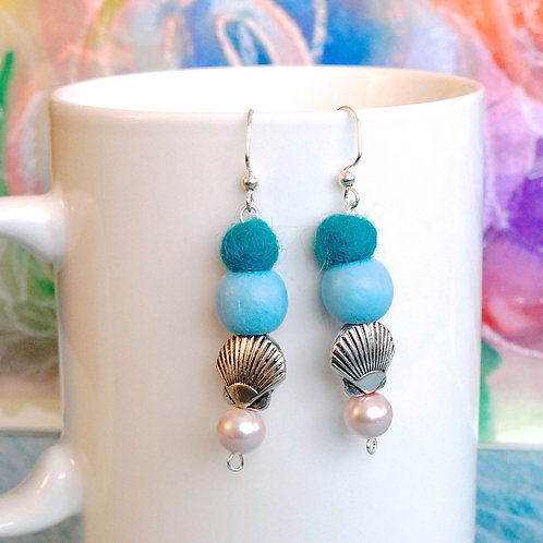 Teal and Light Blue Handmade Earrings with Shell
