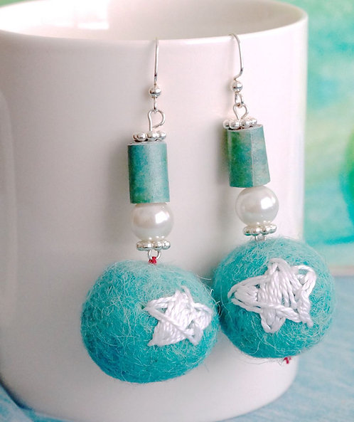 Turquoise Felt Ball Earrings