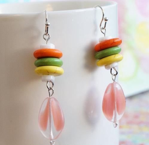 Peach, Green & Yellow Drop Earrings - Howlite, Glass, Puka Shell