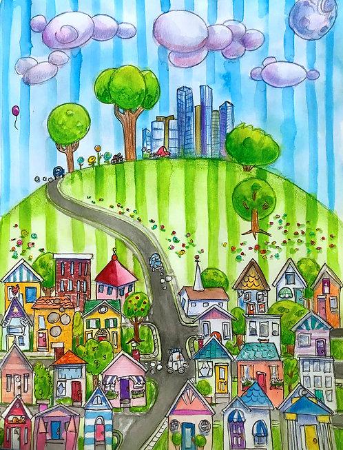 Whimsical Suburban Scene Print