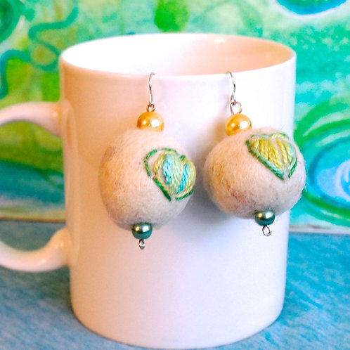 Hand-stitched Heart Felt Ball Earrings