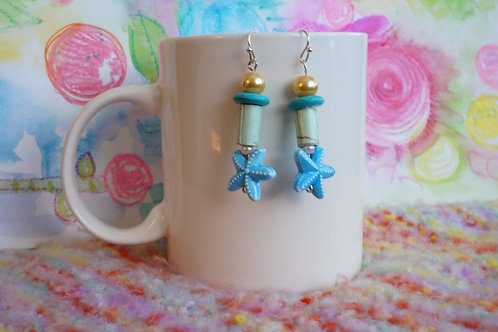 Star Drop Earrings-Glass, Howlite, Paper, Glass & Ceramic