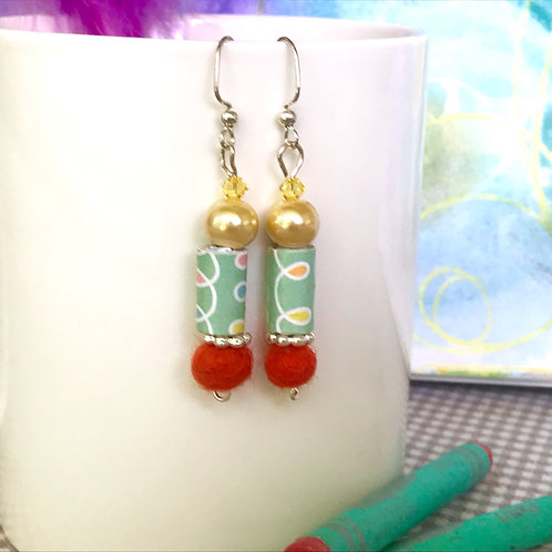 Glass, Felt and Handmade Paper Earrings