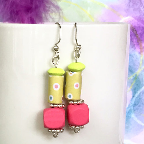 Chatreuse  Handmade Paper Bead with Dots, Pink Wood Bead Earrings