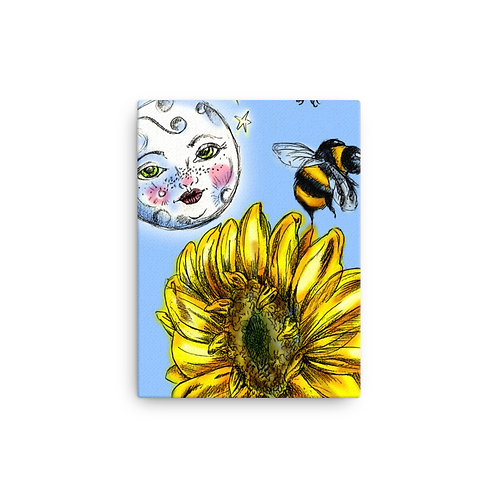 Moon, Bees, and Sunflower Art Canvas