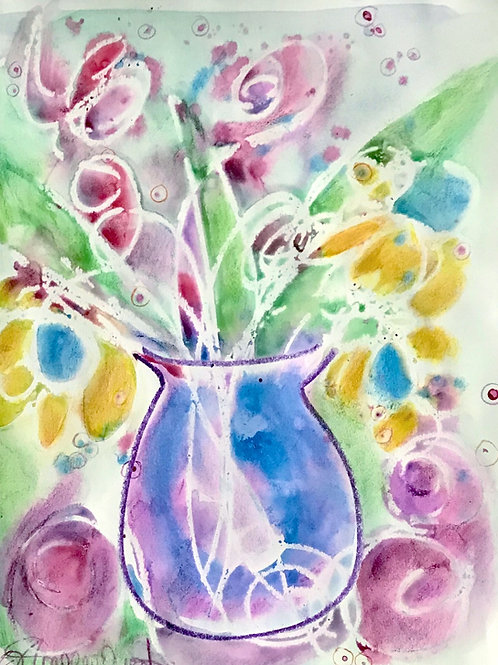 Vase of Flowers Abstract Print
