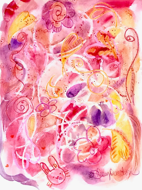 Floral Doodle Abstract Print