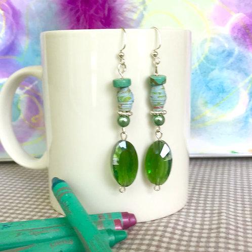 Green Cut Glass Drop Earrings