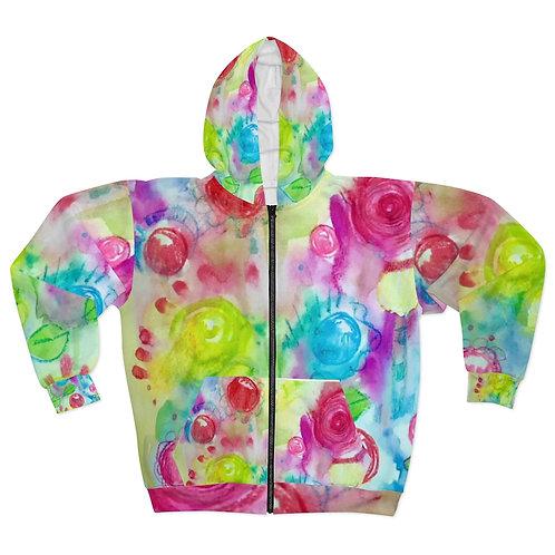 Color Pop Original Art AOP Unisex Zip Hoodie