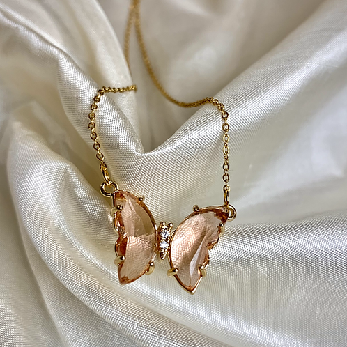 Pink Crystal Butterfly Necklace