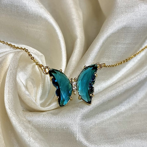 Blue Crystal Butterfly Necklace