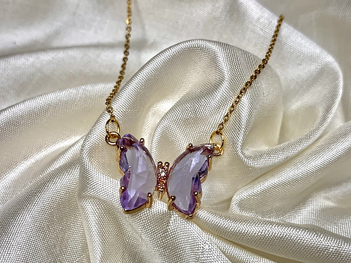 Purple Crystal Butterfly Necklace