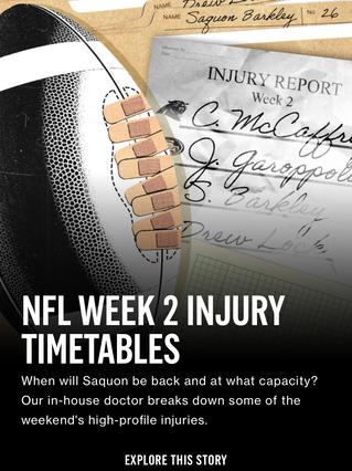 NFL Week 2 Injury Timetables