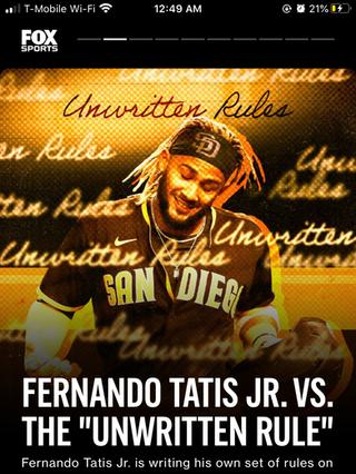 """Fernando Tatis Jr. vs. The """"Unwritten Rule"""""""