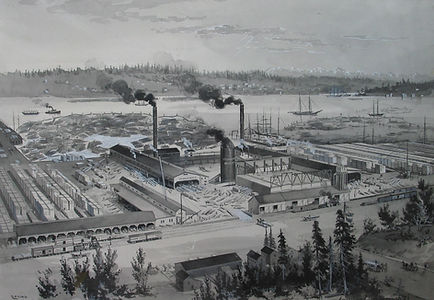 View of the Stimson Mill from Ballard Avenue, published in The American Lumberman in 1899.