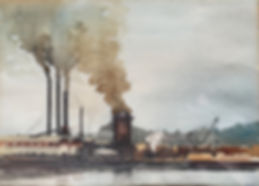 Watercolor of the Stimson Mill in the early 1920s, seen from the Southwest.