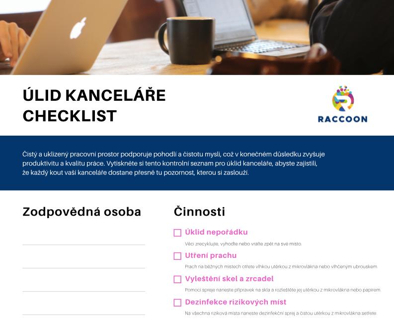 Úklid kaceláře checklist