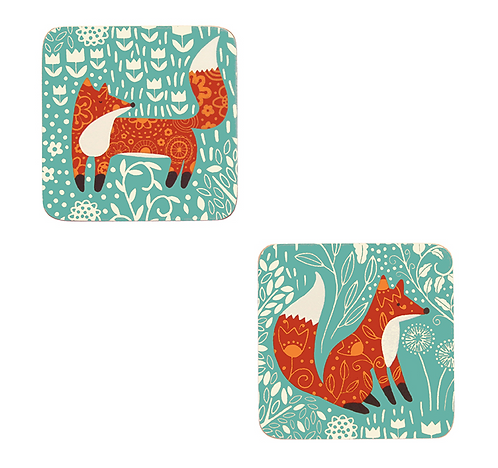 Foraging Fox 4pk coasters