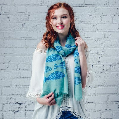 Patterened fish scarf