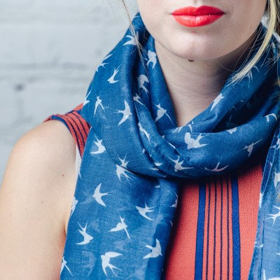 Blue Doves scarf