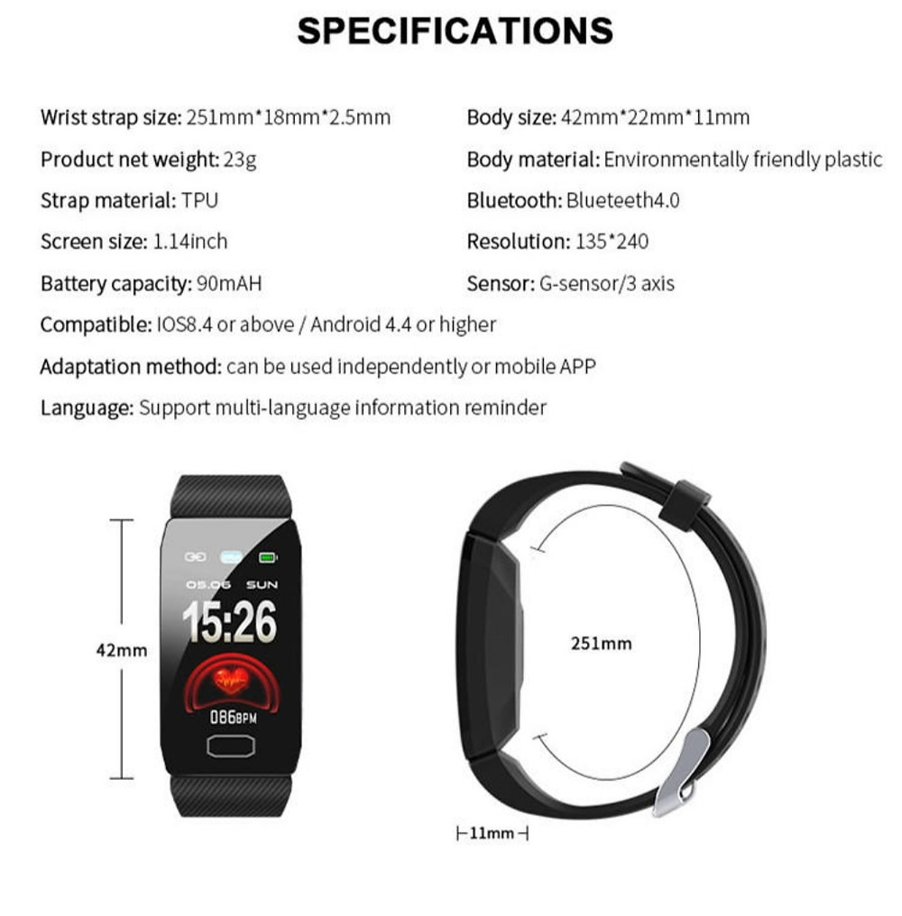 Innomax Commando Premium Smart Watch. *Product Description*There is no doubt about the advantages of physical exercise, whether you are hitting a gym or jogging outside. The release of endorphins has been great for both the mind and body. Monitoring and tracking the records and activities is now easy with Innomax Commando Fitness Band. This Fitness Band tracks your Heart Rate, Steps, Calories, Sleeping patterns, and a lot more. This smart band has become trending all over and hence, making them the best corporate gift for employees and clients.  Product Name: Clapsem Innomax Commando Smart WatchWristband  size: 38/40mm liquid silicone Milanis  Product Highlights Exclusive all-weather, always-on-dial display.  Long-lasting power backup with 3-5 days working time.  Accurate Oximeter, Blood pressure Monitor, Pulse monitor body  Material: TPU+ IML injection molding process scrap  Material: Silicone belt + Stainless Steel lock  Product Color: Black, Grey, BlueScreen  Size: 1.14 inch constantly bright screen  Battery Capacity 90mAH  Package Contain Smart Watch  * 1pcs,Belt *2 pcs USB Cable * 1pcs,User Manual * 1pcs,Special Hard Bound Retail Package * 1pcs.  Compatibility: lOS8. 4 or above/ Android 4.4 or higher  Adaptation method: Can be used independently or mobile APP UseLanguage: Support multi-language information reminder.