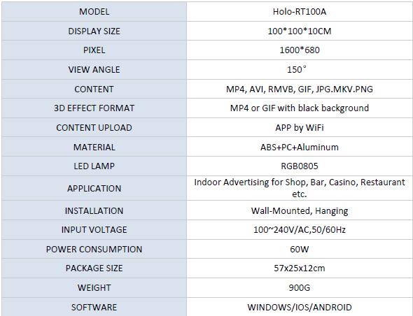 Z5-100cm 3D hologram Fan specifications