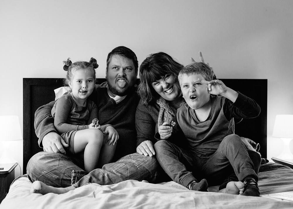 happy fun family of four