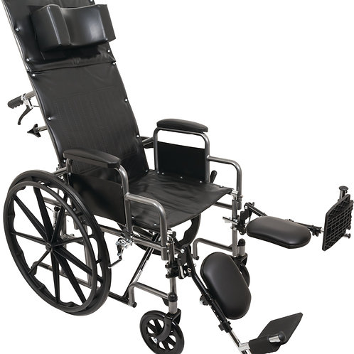 "Reclining Wheelchair, 18"" x 17"", Removable Desk Arms & ELR"