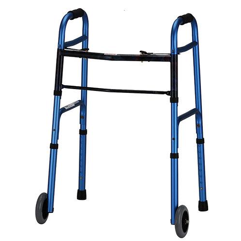 Blue Folding Walker with 5″ Wheels
