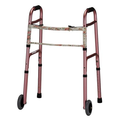 Pink Folding Walker with 5″ Wheels