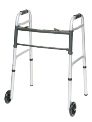 """Aluminum Two-Button Release Folding Junior Walker With 5"""" Wheels"""
