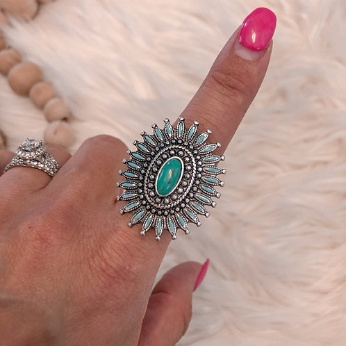 Spiny Turquoise Adjustable Ring