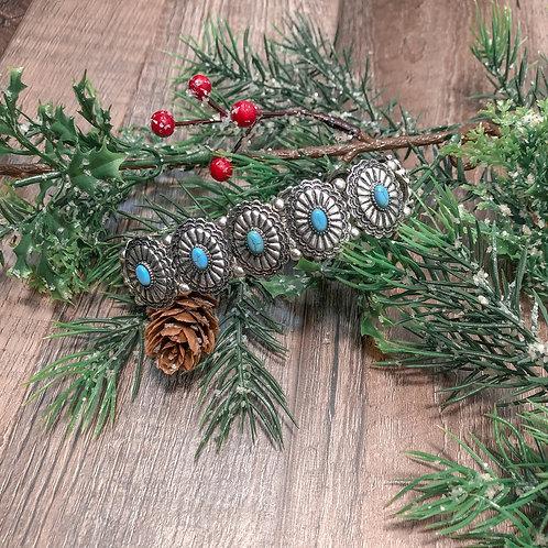 Turquoise Concho Stretch Bracelet