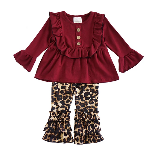 Burgundy Ruffle Top with Leopard Bells Set