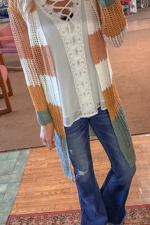 Color Block Crochet Cardigan