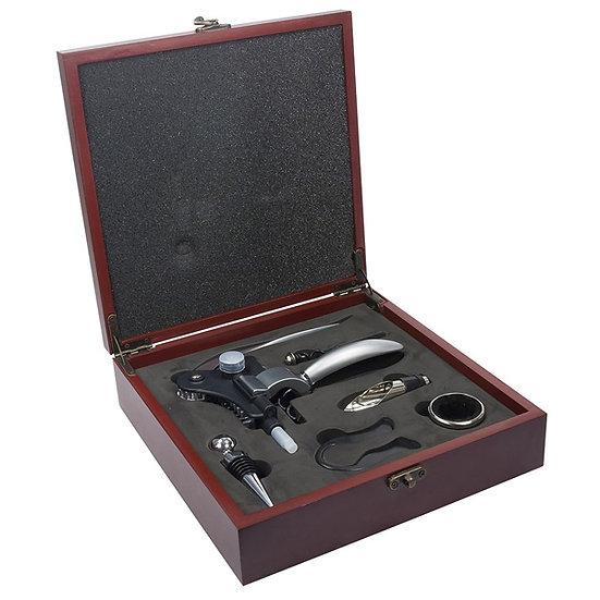 Kit Vinho Sommelier 6 pecas com caixa de madeira