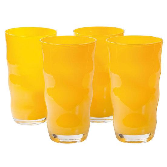 Jogo de 4 copos de vidro Wave amarelo (600ml)