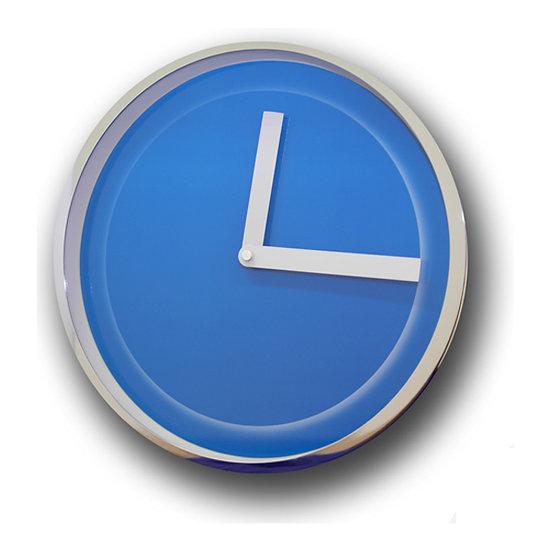 Relógio de parede cromado azul