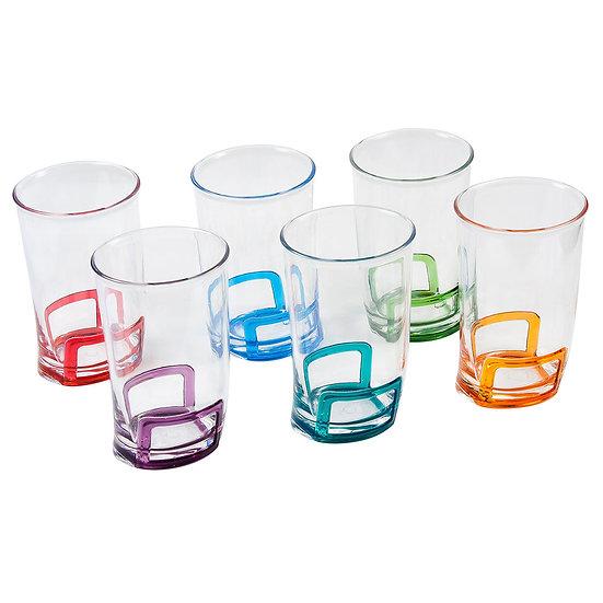 Jogo de 6 copos de acrílico coloridos (300ml)