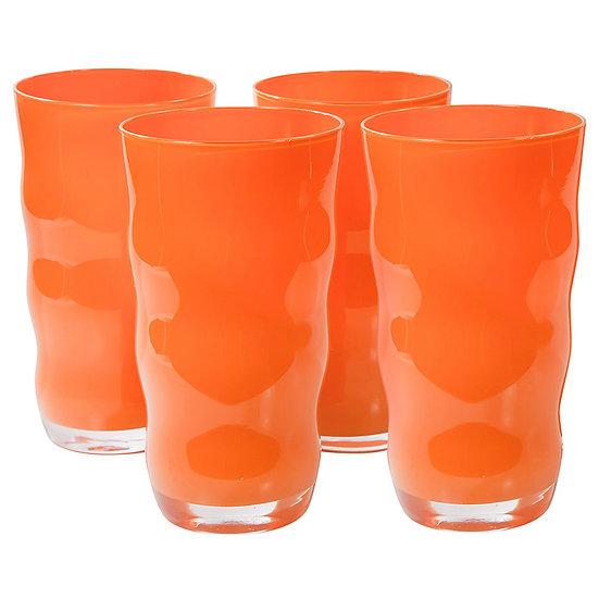 Jogo de 4 copos de vidro Wave laranja (600ml)