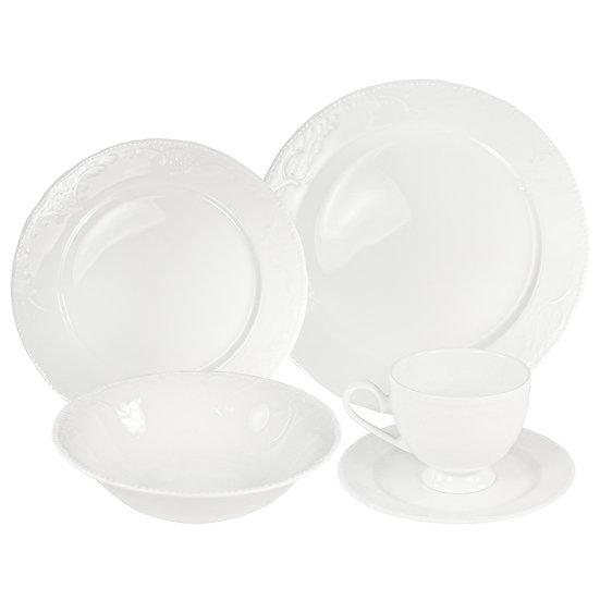Aparelho de jantar branco BONE CHINA 20 peças com bowl